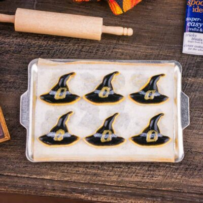 Dollhouse Miniature Witch Hat Cookies on Tray - 1:12 Dollhouse Miniature Halloween Cookies
