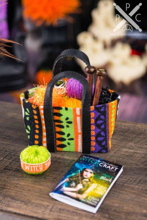 Dollhouse Miniature Witch's Knitting Bag Set - 1:12 Dollhouse Miniature Halloween Decorations