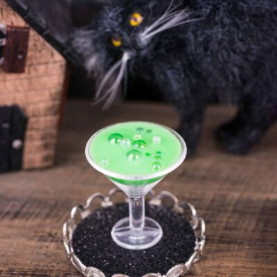 Dollhouse Miniature Witch's Brew Halloween Martini on Tray - 1:12 Dollhouse Miniature Cocktail