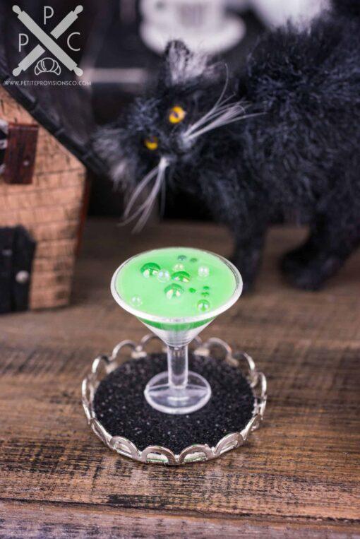 Dollhouse Miniature Witch's Brew Halloween Martini on Tray - 1:12 Dollhouse Miniature Cocktail