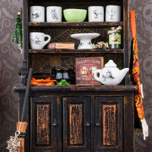 Witch's Vintage Kitchen Hutch – Halloween Cabinet
