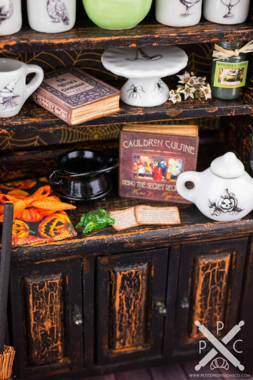 Dollhouse Miniature Witch's Vintage Kitchen Hutch - Halloween Cabinet - Witch's Pantry - 1:12 Dollhouse Miniature Halloween Decorations