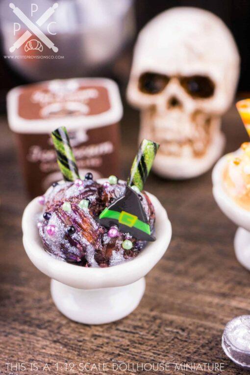 Dollhouse Miniature Witchy Ice Cream Sundae - 1:12 Dollhouse Miniature Halloween Ice Cream