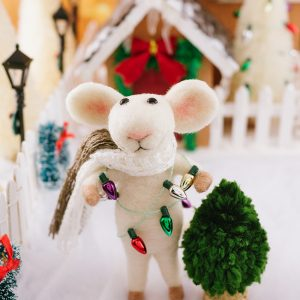 Clark the Needle Felted Mouse with Christmas Lights and Tree