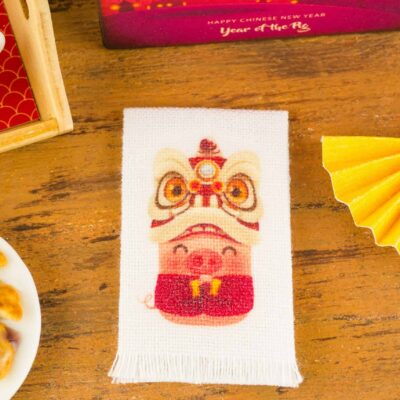 Dollhouse Miniature Year of the Pig Chinese New Year Tea Towel